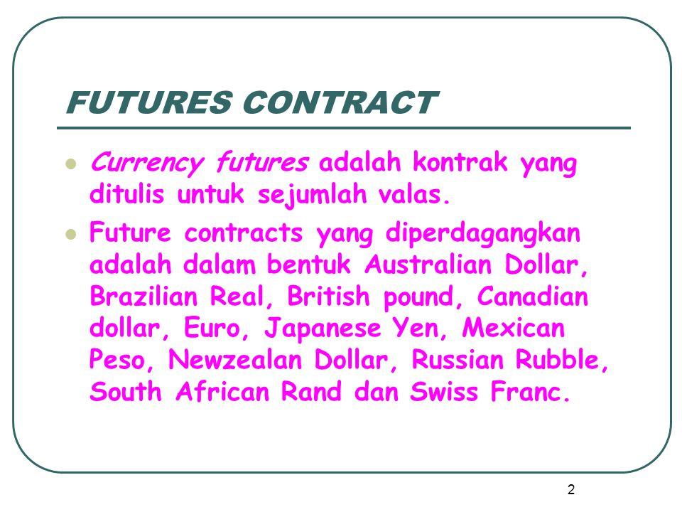 FUTURES OPTION Sejak januari 1984, pasar futures option telah berkembang meliputi opsi pada futures di British Poundsterling, Jepang Yen, Swiss Franc dan juga Canadian Dollar.