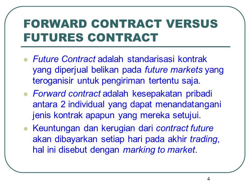 FORWARD CONTRACT VERSUS FUTURES CONTRACT Future Contract adalah standarisasi kontrak yang diperjual belikan pada future markets yang teroganisir untuk pengiriman tertentu saja.