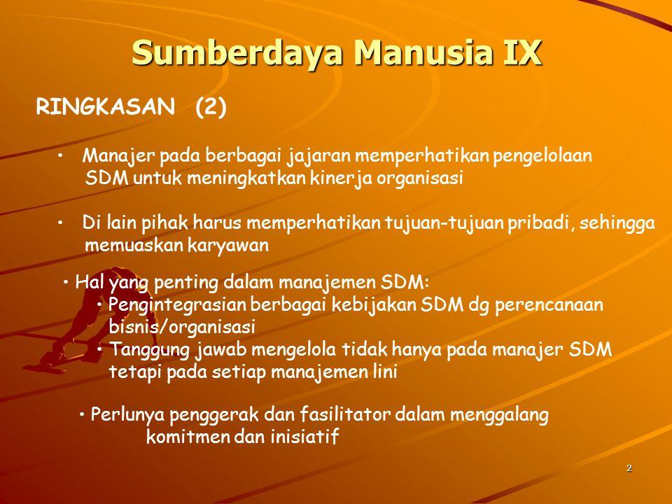2 Sumberdaya Manusia IX RINGKASAN (2) Manajer pada berbagai jajaran memperhatikan pengelolaan SDM untuk meningkatkan kinerja organisasi Di lain pihak