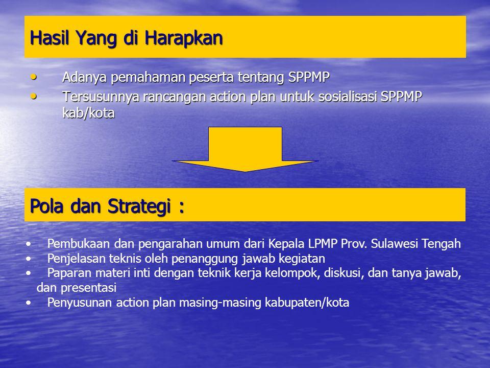 Hasil Yang di Harapkan Adanya pemahaman peserta tentang SPPMP Adanya pemahaman peserta tentang SPPMP Tersusunnya rancangan action plan untuk sosialisa