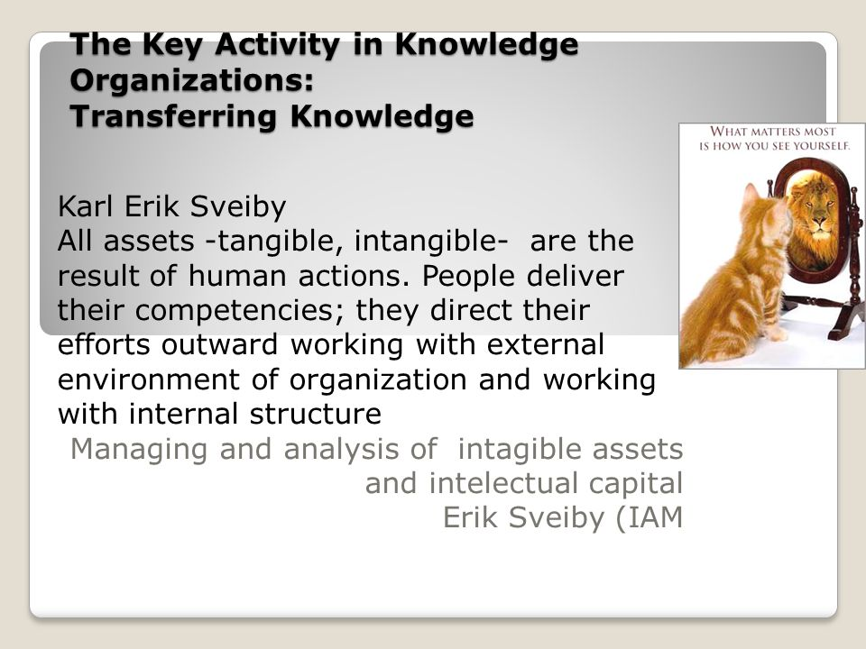 The Key Activity in Knowledge Organizations: Transferring Knowledge Karl Erik Sveiby All assets -tangible, intangible- are the result of human actions.