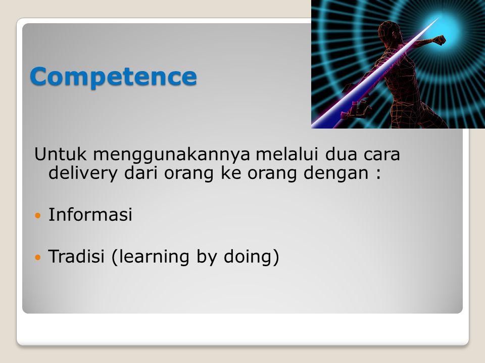 Competence Untuk menggunakannya melalui dua cara delivery dari orang ke orang dengan : Informasi Tradisi (learning by doing)