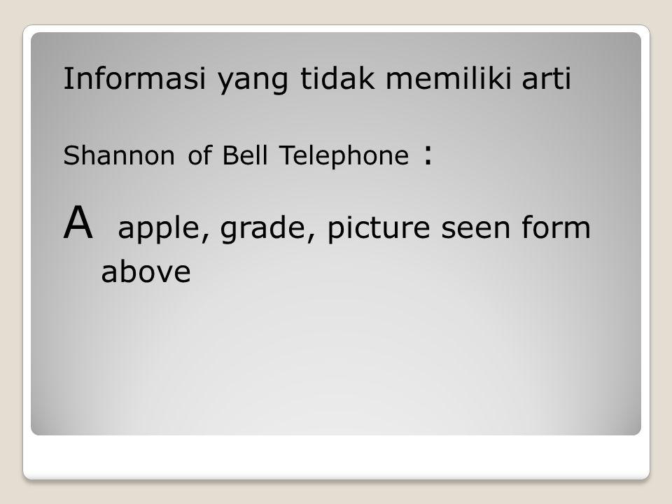 Informasi yang tidak memiliki arti Shannon of Bell Telephone : A apple, grade, picture seen form above