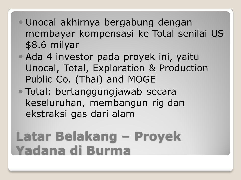 Latar Belakang – Proyek Yadana di Burma Unocal akhirnya bergabung dengan membayar kompensasi ke Total senilai US $8.6 milyar Ada 4 investor pada proye