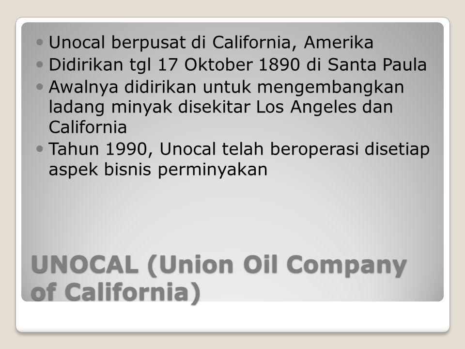 UNOCAL (Union Oil Company of California) Unocal berpusat di California, Amerika Didirikan tgl 17 Oktober 1890 di Santa Paula Awalnya didirikan untuk m