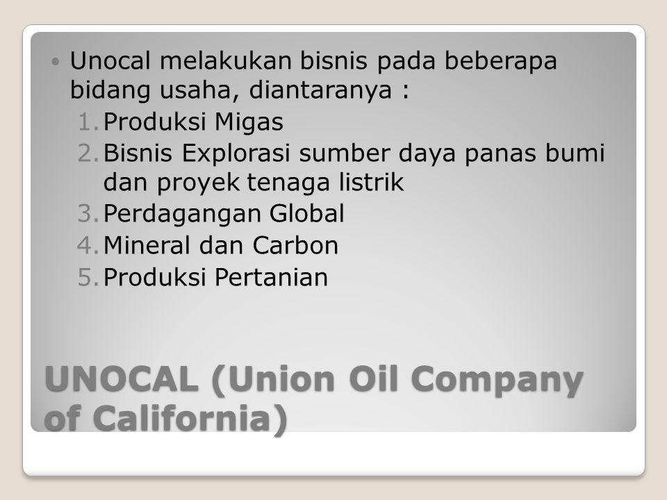 UNOCAL (Union Oil Company of California) Unocal melakukan bisnis pada beberapa bidang usaha, diantaranya : 1.Produksi Migas 2.Bisnis Explorasi sumber