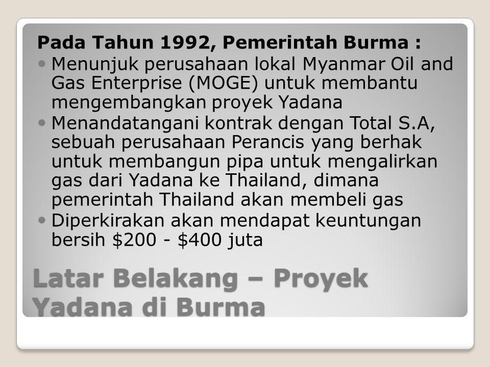 Latar Belakang – Proyek Yadana di Burma Pada Tahun 1992, Pemerintah Burma : Menunjuk perusahaan lokal Myanmar Oil and Gas Enterprise (MOGE) untuk memb