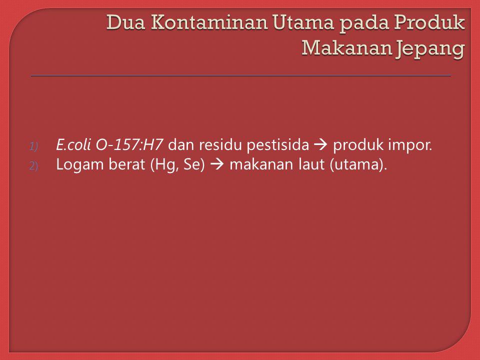 1) E.coli O-157:H7 dan residu pestisida  produk impor.