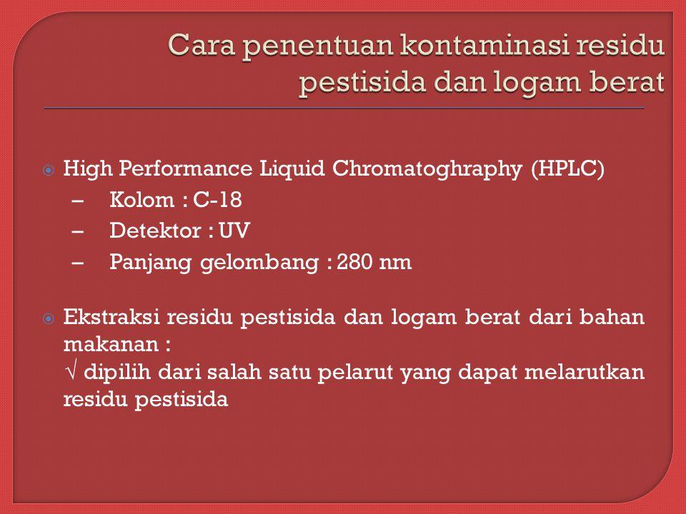  High Performance Liquid Chromatoghraphy (HPLC) – Kolom : C-18 – Detektor : UV – Panjang gelombang : 280 nm  Ekstraksi residu pestisida dan logam berat dari bahan makanan : √ dipilih dari salah satu pelarut yang dapat melarutkan residu pestisida