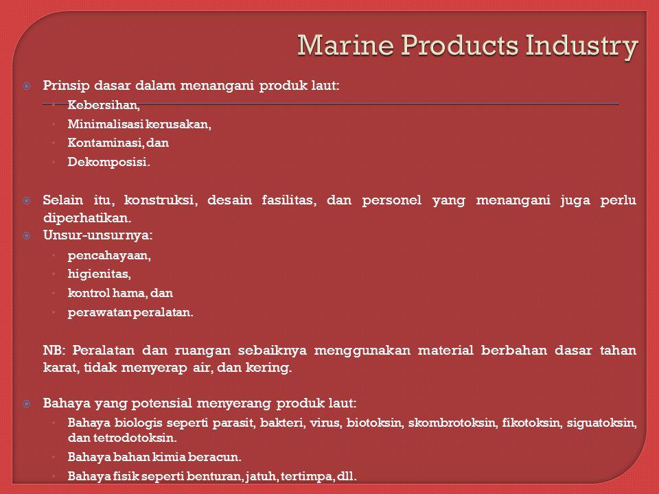  Prinsip dasar dalam menangani produk laut: Kebersihan, Minimalisasi kerusakan, Kontaminasi, dan Dekomposisi.