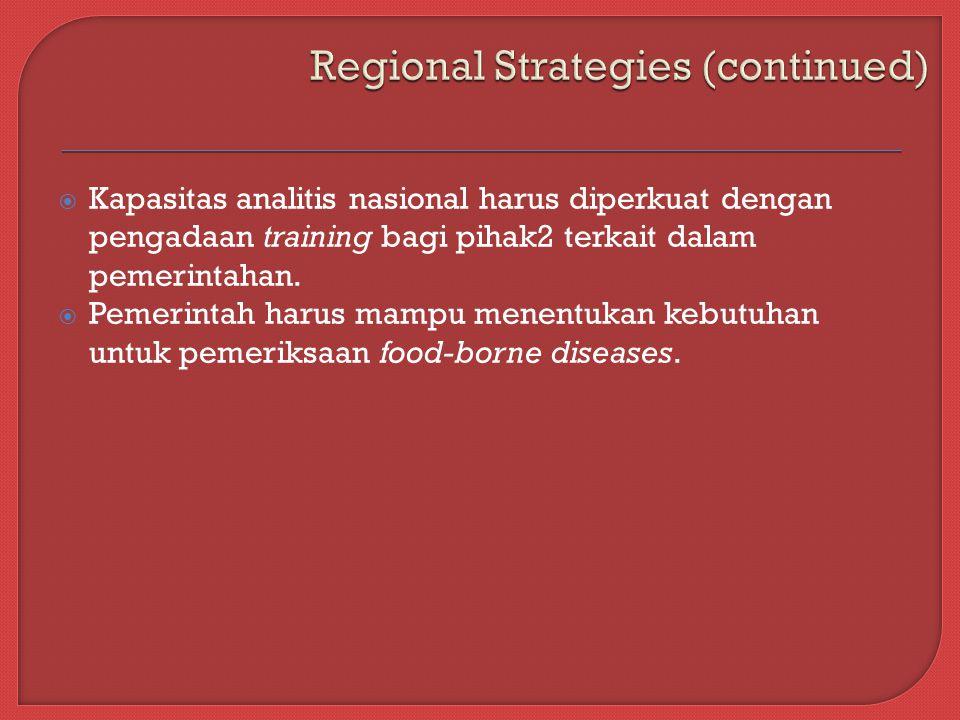  Kapasitas analitis nasional harus diperkuat dengan pengadaan training bagi pihak2 terkait dalam pemerintahan.