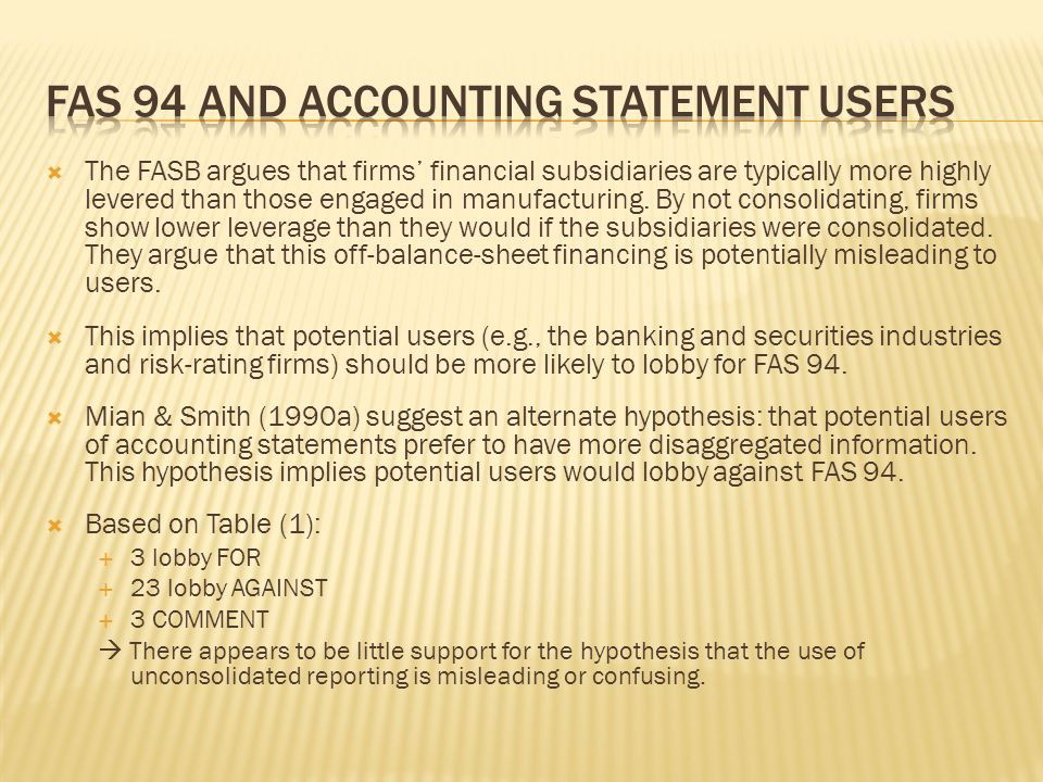  The FASB argues that firms' financial subsidiaries are typically more highly levered than those engaged in manufacturing. By not consolidating, firm