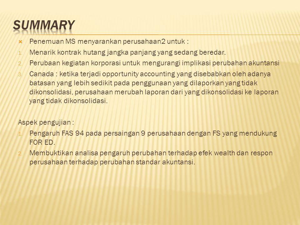  Penemuan MS menyarankan perusahaan2 untuk : 1.
