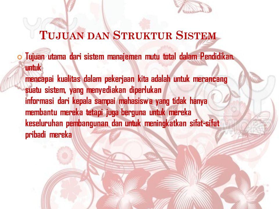 T UJUAN DAN S TRUKTUR S ISTEM Tujuan utama dari sistem manajemen mutu total dalam Pendidikan.