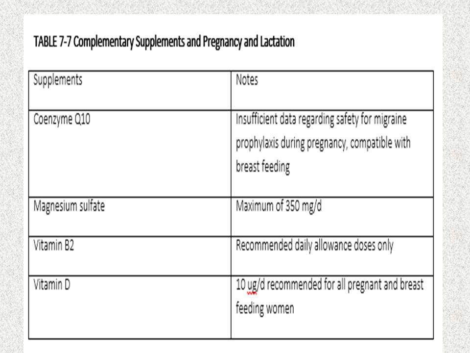 TATALAKSANA GAWAT DARURAT UNTUK SAKIT KEPALA Selama hamil dan menyusui, prochlorperazine 10 mg atau chlorpromazine 25 hingga 50 mg dengan injeksi IM efektif untuk sakit mengatasi sakit kepala berat bahkan jika tanpa menggunakan analgesik, dan bersaman dengan pemberian cairan melalui IV biasanya cukup untuk mencegah serangan Magnesium sulfat 1 g IV diberikan dalam 15 menit memberikan dampak efektif pada studi randomized single blind, placebo trial pada 30 pasien dengan migraine Kombinasi prochlorpramazine 10 mg IV setiap 8 jam dan magnesium sulfat IV 1 g setiap 12 jam berhasil digunakan untuk mengatasi dua kasus migrain dengan aura berkelanjutan selama kehamilan