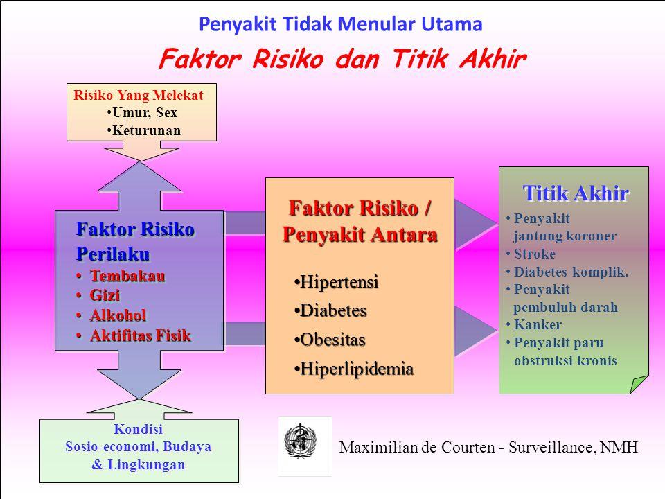 Penyakit jantung koroner Stroke Diabetes komplik. Penyakit pembuluh darah Kanker Penyakit paru obstruksi kronis Titik Akhir Faktor Risiko / Penyakit A