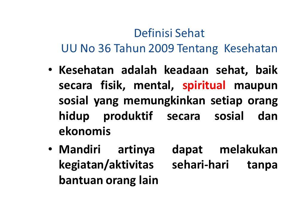 Definisi Sehat UU No 36 Tahun 2009 Tentang Kesehatan Kesehatan adalah keadaan sehat, baik secara fisik, mental, spiritual maupun sosial yang memungkin