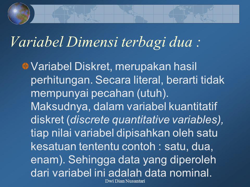 Variabel Dimensi terbagi dua : Variabel Diskret, merupakan hasil perhitungan. Secara literal, berarti tidak mempunyai pecahan (utuh). Maksudnya, dalam