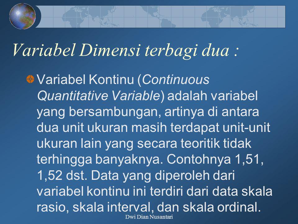 Variabel Dimensi terbagi dua : Variabel Kontinu (Continuous Quantitative Variable) adalah variabel yang bersambungan, artinya di antara dua unit ukura