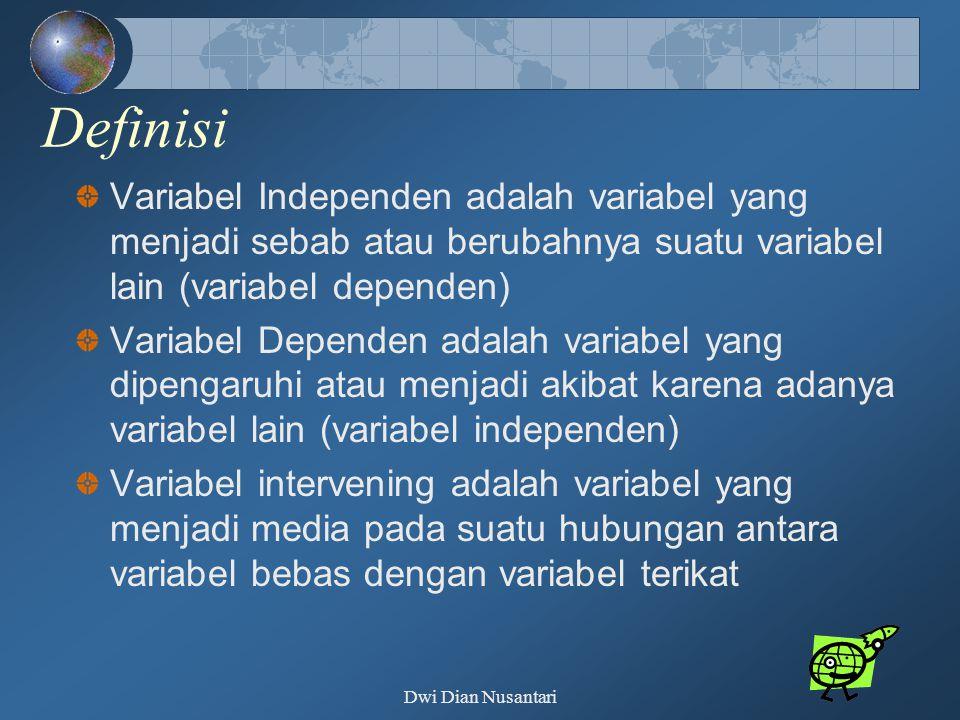 Definisi Variabel Independen adalah variabel yang menjadi sebab atau berubahnya suatu variabel lain (variabel dependen) Variabel Dependen adalah varia