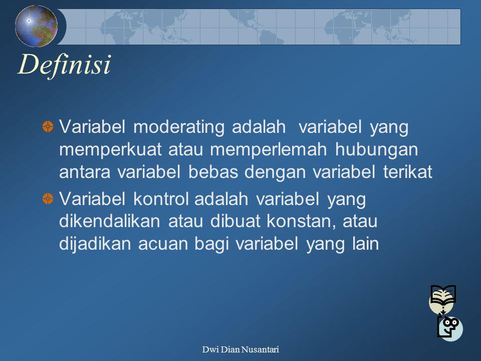 Definisi Variabel moderating adalah variabel yang memperkuat atau memperlemah hubungan antara variabel bebas dengan variabel terikat Variabel kontrol