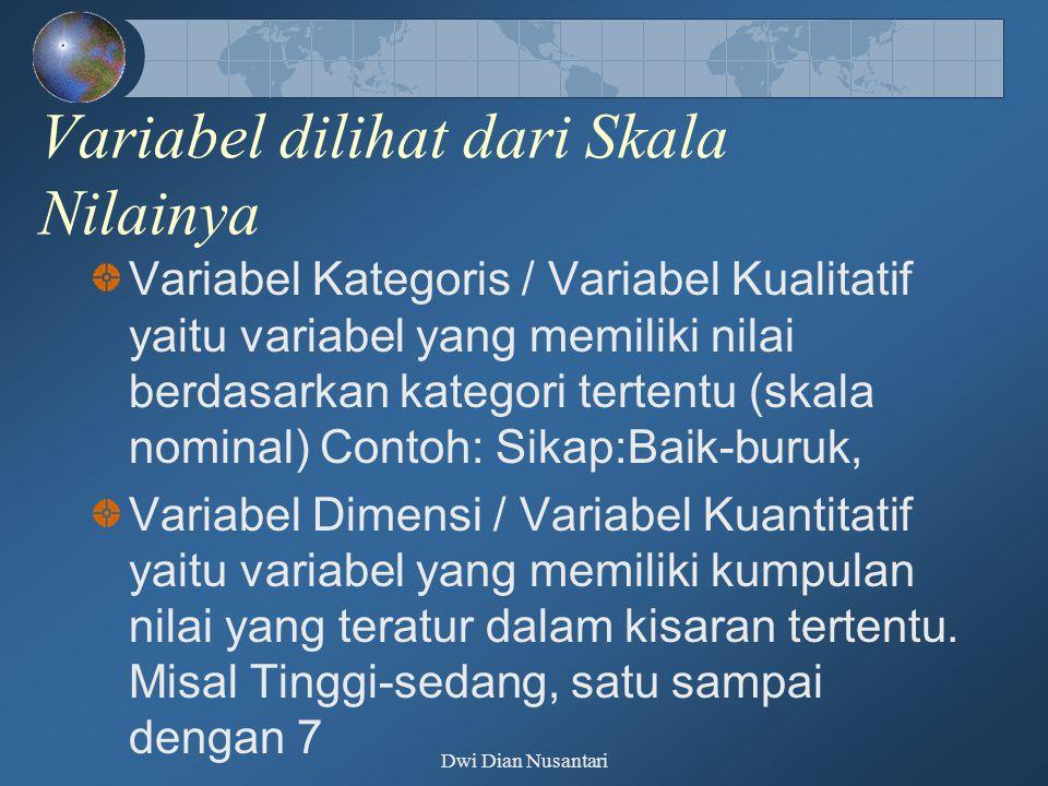Dwi Dian Nusantari Variabel dilihat dari Skala Nilainya Variabel Kategoris / Variabel Kualitatif yaitu variabel yang memiliki nilai berdasarkan katego
