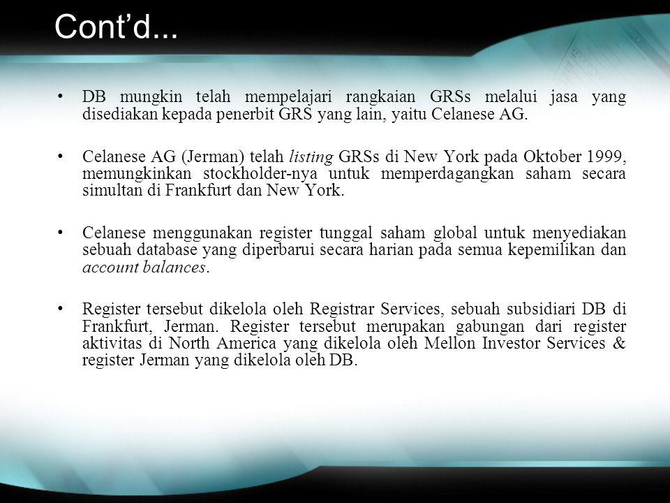 Cont'd... DB mungkin telah mempelajari rangkaian GRSs melalui jasa yang disediakan kepada penerbit GRS yang lain, yaitu Celanese AG. Celanese AG (Jerm