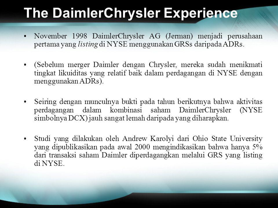 The DaimlerChrysler Experience November 1998 DaimlerChrysler AG (Jerman) menjadi perusahaan pertama yang listing di NYSE menggunakan GRSs daripada ADR