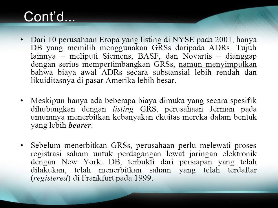 Cont'd... Dari 10 perusahaan Eropa yang listing di NYSE pada 2001, hanya DB yang memilih menggunakan GRSs daripada ADRs. Tujuh lainnya – meliputi Siem
