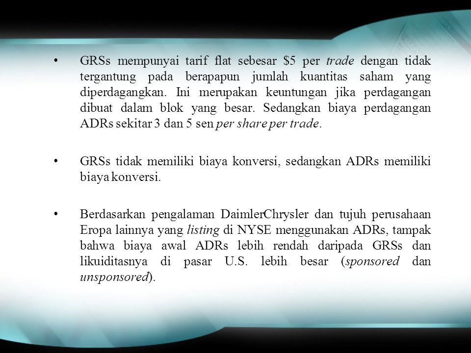 GRSs mempunyai tarif flat sebesar $5 per trade dengan tidak tergantung pada berapapun jumlah kuantitas saham yang diperdagangkan.