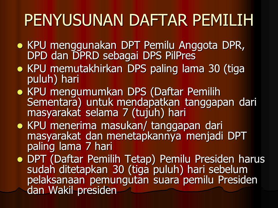 PENYUSUNAN DAFTAR PEMILIH KPU menggunakan DPT Pemilu Anggota DPR, DPD dan DPRD sebagai DPS PilPres KPU menggunakan DPT Pemilu Anggota DPR, DPD dan DPRD sebagai DPS PilPres KPU memutakhirkan DPS paling lama 30 (tiga puluh) hari KPU memutakhirkan DPS paling lama 30 (tiga puluh) hari KPU mengumumkan DPS (Daftar Pemilih Sementara) untuk mendapatkan tanggapan dari masyarakat selama 7 (tujuh) hari KPU mengumumkan DPS (Daftar Pemilih Sementara) untuk mendapatkan tanggapan dari masyarakat selama 7 (tujuh) hari KPU menerima masukan/ tanggapan dari masyarakat dan menetapkannya menjadi DPT paling lama 7 hari KPU menerima masukan/ tanggapan dari masyarakat dan menetapkannya menjadi DPT paling lama 7 hari DPT (Daftar Pemilih Tetap) Pemilu Presiden harus sudah ditetapkan 30 (tiga puluh) hari sebelum pelaksanaan pemungutan suara pemilu Presiden dan Wakil presiden DPT (Daftar Pemilih Tetap) Pemilu Presiden harus sudah ditetapkan 30 (tiga puluh) hari sebelum pelaksanaan pemungutan suara pemilu Presiden dan Wakil presiden
