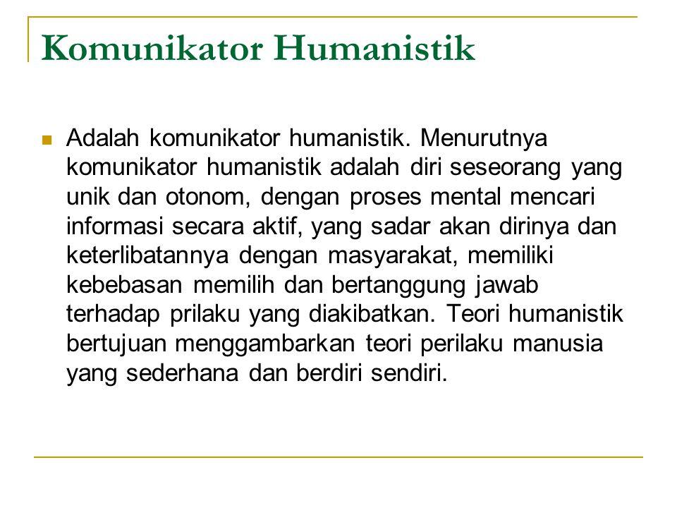 Komunikator Humanistik Adalah komunikator humanistik. Menurutnya komunikator humanistik adalah diri seseorang yang unik dan otonom, dengan proses ment