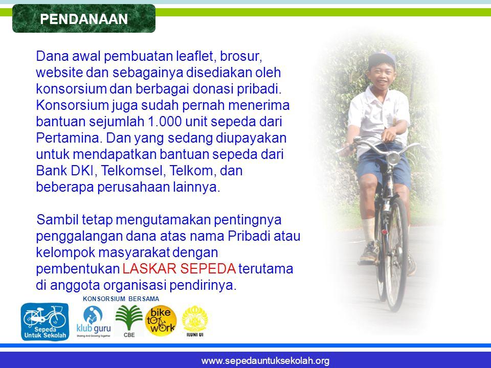 PENDANAAN Dana awal pembuatan leaflet, brosur, website dan sebagainya disediakan oleh konsorsium dan berbagai donasi pribadi.