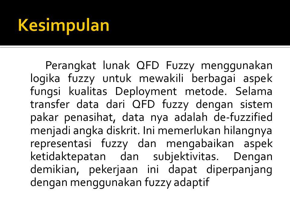 Perangkat lunak QFD Fuzzy menggunakan logika fuzzy untuk mewakili berbagai aspek fungsi kualitas Deployment metode.