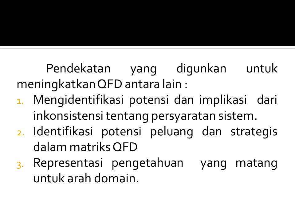 Pendekatan yang digunkan untuk meningkatkan QFD antara lain : 1.