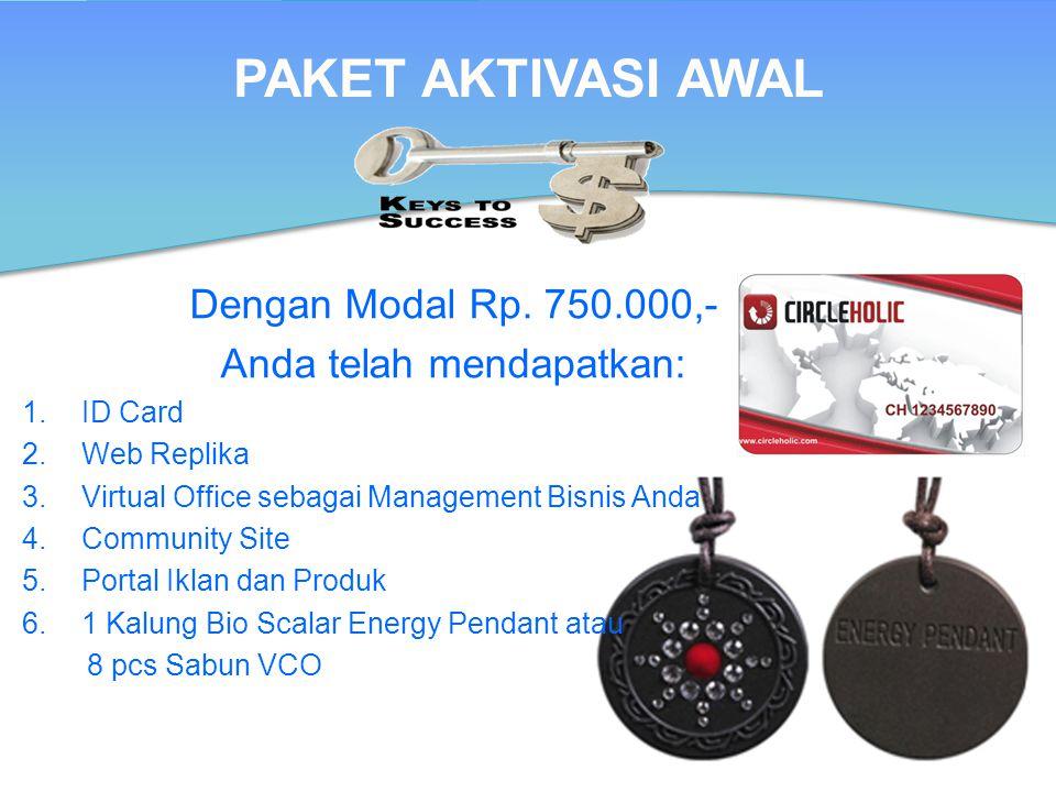 Dengan Modal Rp. 750.000,- Anda telah mendapatkan: 1.ID Card 2.Web Replika 3.Virtual Office sebagai Management Bisnis Anda 4.Community Site 5.Portal I