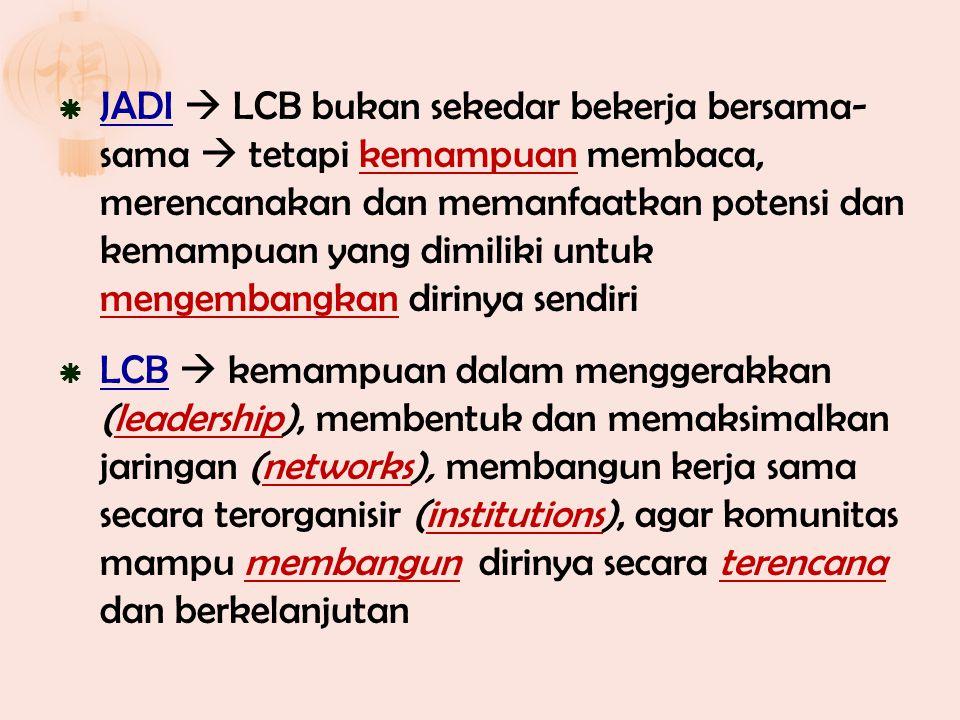  JADI  LCB bukan sekedar bekerja bersama- sama  tetapi kemampuan membaca, merencanakan dan memanfaatkan potensi dan kemampuan yang dimiliki untuk m