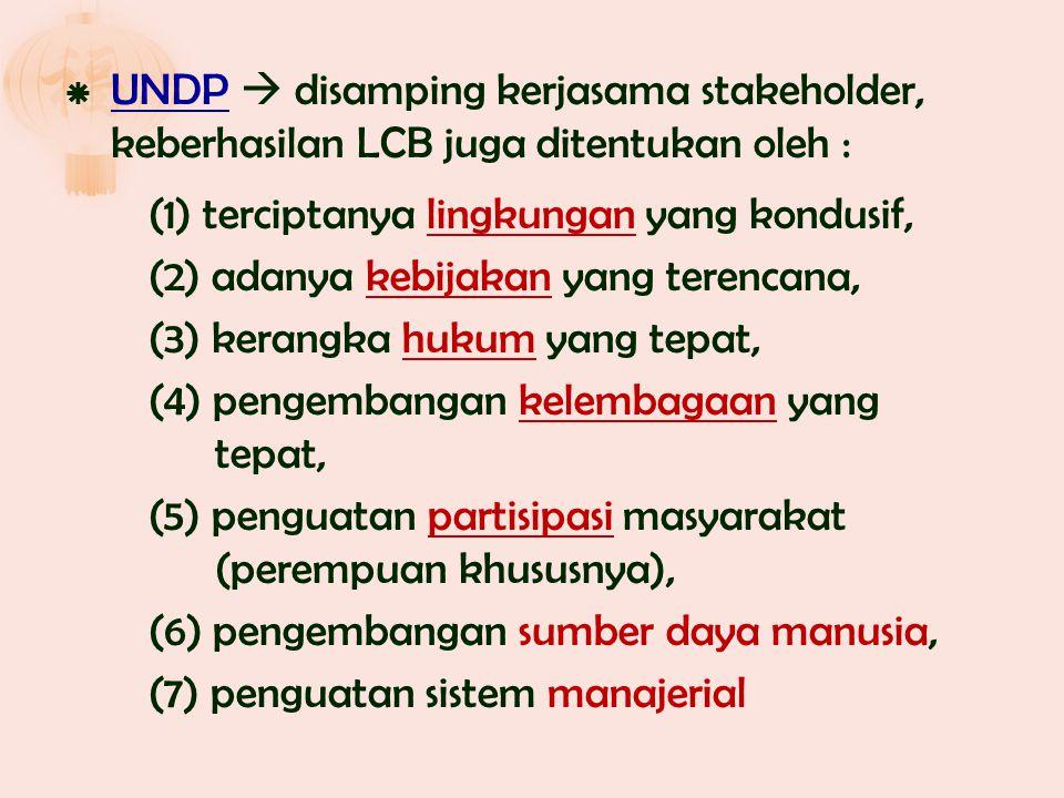 UNDP  disamping kerjasama stakeholder, keberhasilan LCB juga ditentukan oleh : (1) terciptanya lingkungan yang kondusif, (2) adanya kebijakan yang