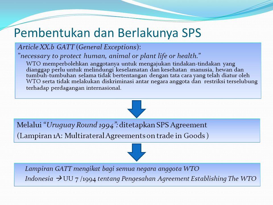 "Pembentukan dan Berlakunya SPS Article XX.b GATT (General Exceptions): ""necessary to protect human, animal or plant life or health."" WTO memperbolehka"