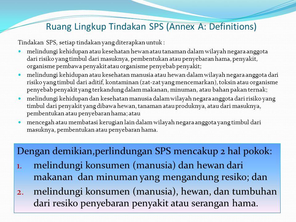 Ruang Lingkup Tindakan SPS (Annex A: Definitions) Tindakan SPS, setiap tindakan yang diterapkan untuk : melindungi kehidupan atau kesehatan hewan atau