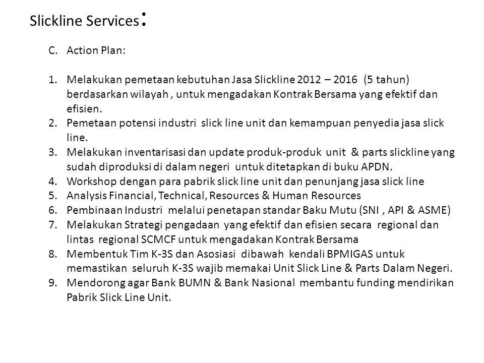 C.Action Plan: 1.Melakukan pemetaan kebutuhan Jasa Slickline 2012 – 2016 (5 tahun) berdasarkan wilayah, untuk mengadakan Kontrak Bersama yang efektif dan efisien.