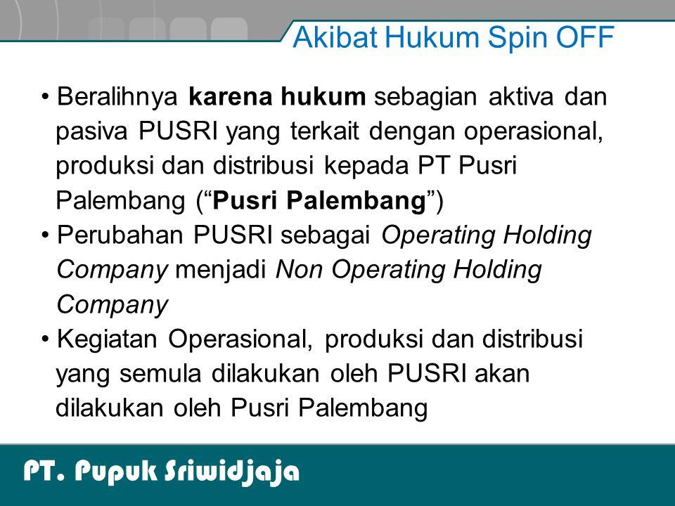 PT. Pupuk Sriwidjaja Akibat Hukum Spin OFF Beralihnya karena hukum sebagian aktiva dan pasiva PUSRI yang terkait dengan operasional, produksi dan dist