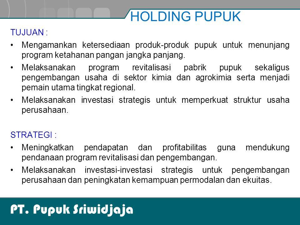 PT. Pupuk Sriwidjaja TUJUAN : Mengamankan ketersediaan produk-produk pupuk untuk menunjang program ketahanan pangan jangka panjang. Melaksanakan progr