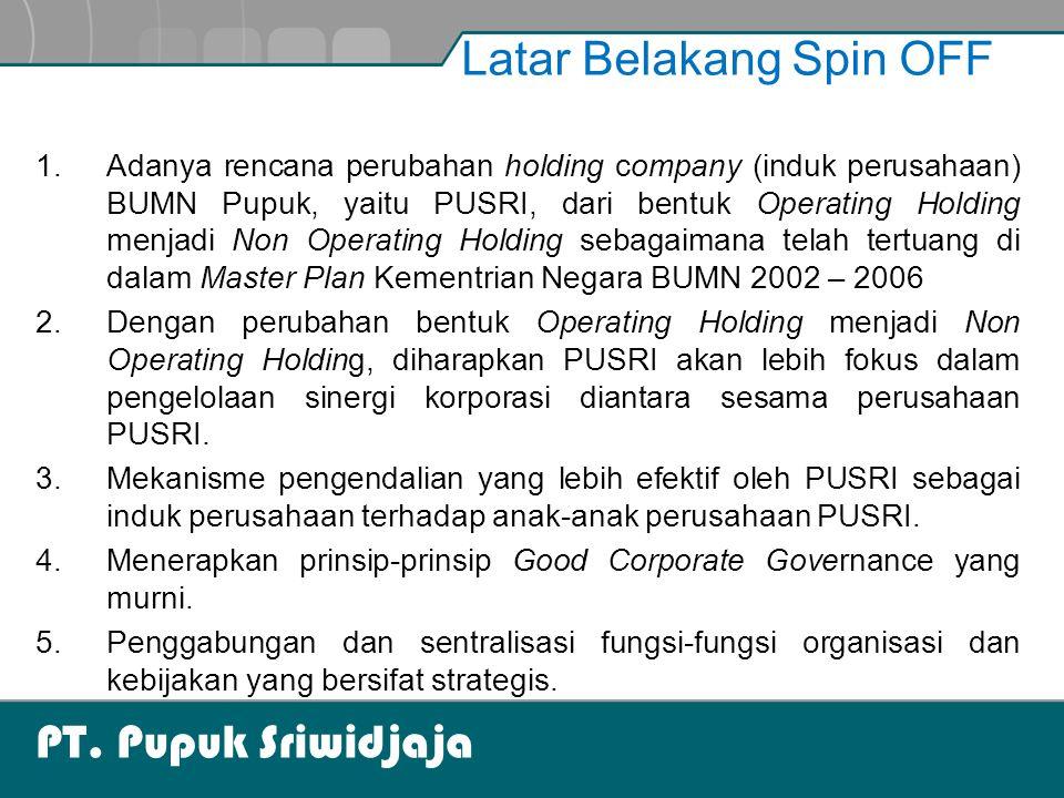PT. Pupuk Sriwidjaja Latar Belakang Spin OFF 1.Adanya rencana perubahan holding company (induk perusahaan) BUMN Pupuk, yaitu PUSRI, dari bentuk Operat