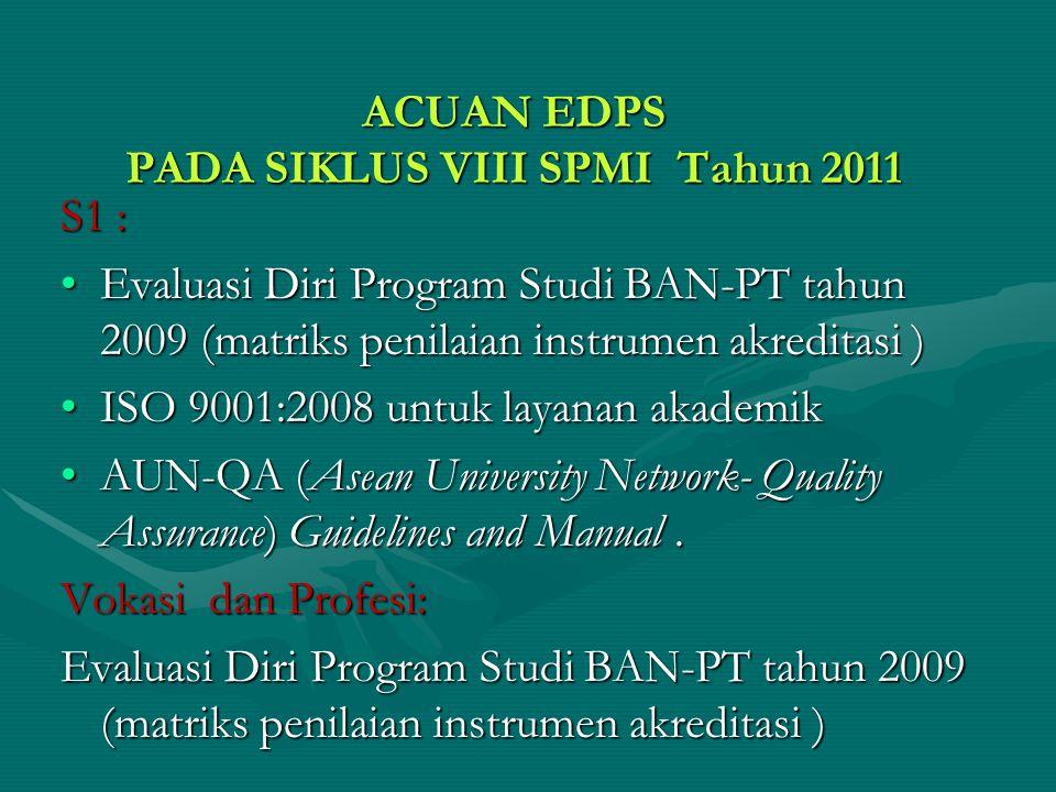 ACUAN EDPS PADA SIKLUS VIII SPMI Tahun 2011 S1 : Evaluasi Diri Program Studi BAN-PT tahun 2009 (matriks penilaian instrumen akreditasi )Evaluasi Diri Program Studi BAN-PT tahun 2009 (matriks penilaian instrumen akreditasi ) ISO 9001:2008 untuk layanan akademikISO 9001:2008 untuk layanan akademik AUN-QA (Asean University Network- Quality Assurance) Guidelines and Manual.AUN-QA (Asean University Network- Quality Assurance) Guidelines and Manual.