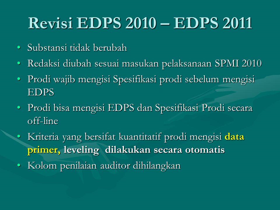 Revisi EDPS 2010 – EDPS 2011 Substansi tidak berubahSubstansi tidak berubah Redaksi diubah sesuai masukan pelaksanaan SPMI 2010Redaksi diubah sesuai masukan pelaksanaan SPMI 2010 Prodi wajib mengisi Spesifikasi prodi sebelum mengisi EDPSProdi wajib mengisi Spesifikasi prodi sebelum mengisi EDPS Prodi bisa mengisi EDPS dan Spesifikasi Prodi secara off-lineProdi bisa mengisi EDPS dan Spesifikasi Prodi secara off-line Kriteria yang bersifat kuantitatif prodi mengisi data primer, leveling dilakukan secara otomatisKriteria yang bersifat kuantitatif prodi mengisi data primer, leveling dilakukan secara otomatis Kolom penilaian auditor dihilangkanKolom penilaian auditor dihilangkan
