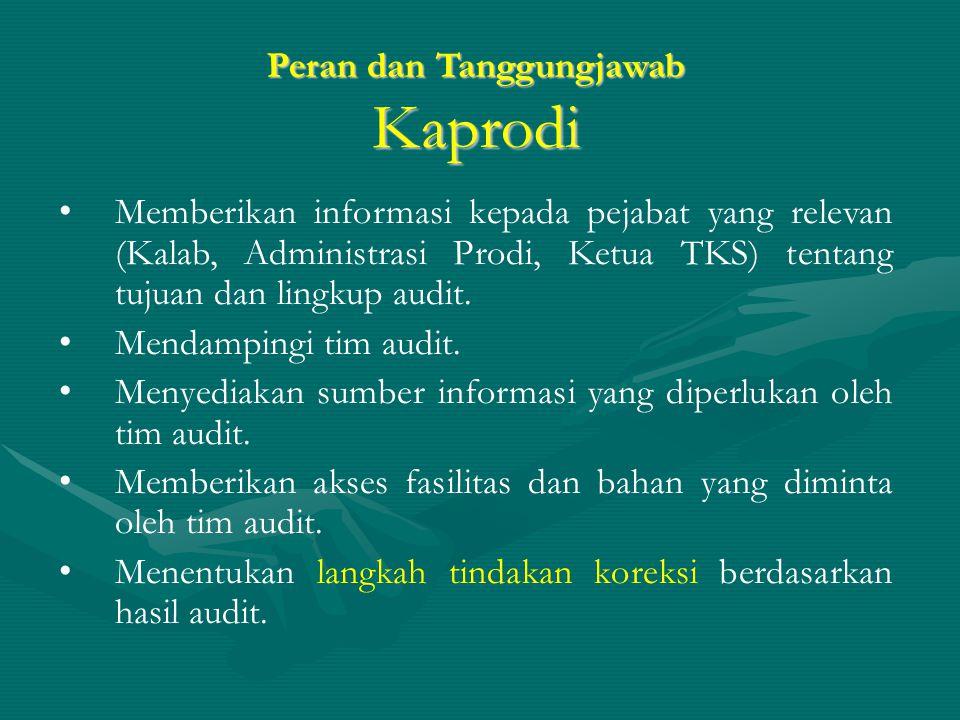 Peran dan Tanggungjawab Kaprodi Memberikan informasi kepada pejabat yang relevan (Kalab, Administrasi Prodi, Ketua TKS) tentang tujuan dan lingkup audit.