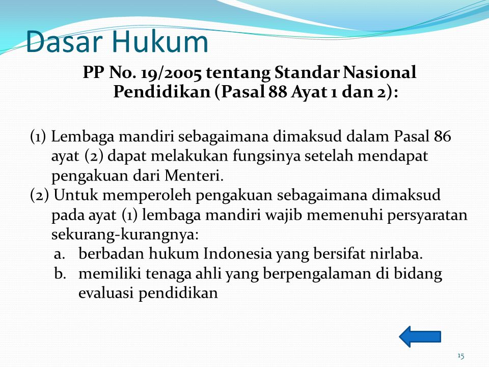 Dasar Hukum PP No. 19/2005 tentang Standar Nasional Pendidikan (Pasal 88 Ayat 1 dan 2): (1) Lembaga mandiri sebagaimana dimaksud dalam Pasal 86 ayat (