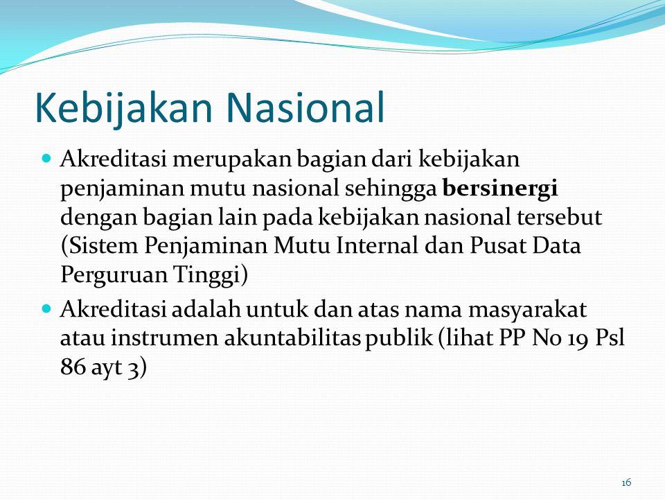 Kebijakan Nasional Akreditasi merupakan bagian dari kebijakan penjaminan mutu nasional sehingga bersinergi dengan bagian lain pada kebijakan nasional