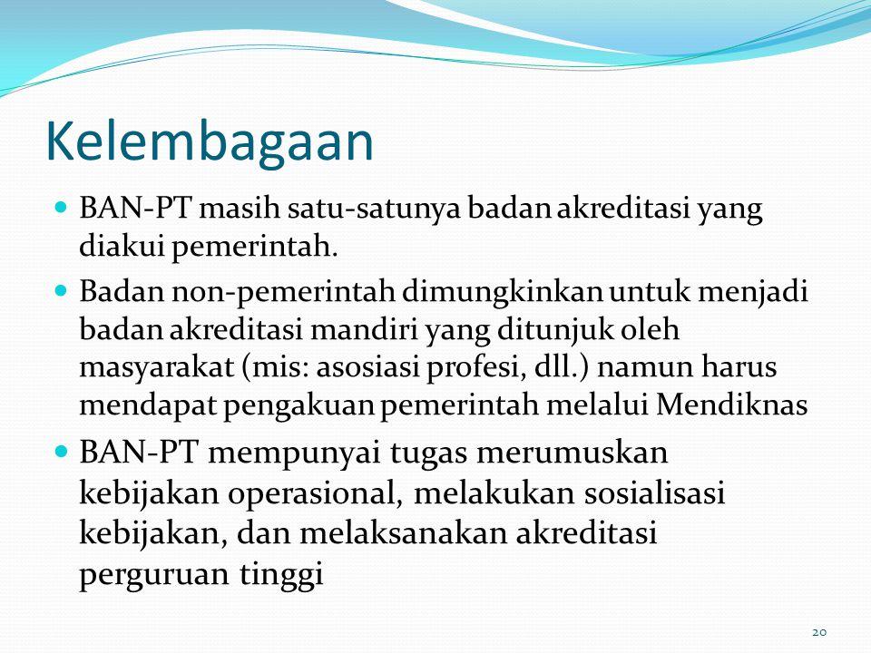 Kelembagaan BAN-PT masih satu-satunya badan akreditasi yang diakui pemerintah. Badan non-pemerintah dimungkinkan untuk menjadi badan akreditasi mandir